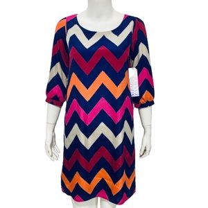 ALMOST FAMOUS | Navy & Berry Chevron Dress S NWT